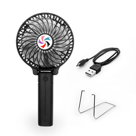 Portable USB Mini Battery Fans with Umbrella Hanging and Metal Clip(Black)