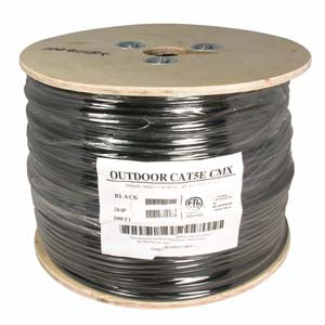 1000Ft Cat.5E UTP Direct Burial Outdoor Cable Gel Type Black