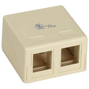 2 Port RJ45 Surface Mount Box Ivory (Box only)