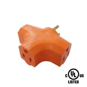 3 Outlet Grounded Power Tap Orange