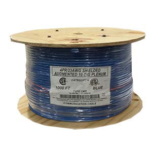 1000Ft Cat.6 A Solid Shielded Cable Plenum Blue