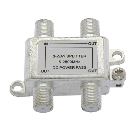 3Way 2.5GHz Satellite TV Signal Splitter DC Power Pass