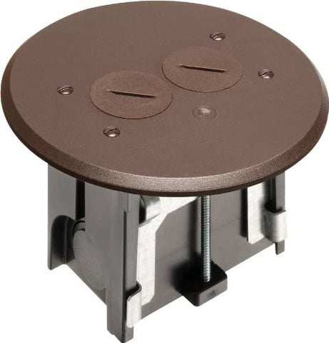 Arlington FLBAR101BR-1 Adjustable Round Floor Box Kit with Outlet and Plate, for Installed Floors, 1-Gang, Brown, 1-Pack