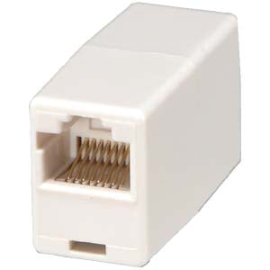 RJ45 Modular Inline Coupler Straight, White