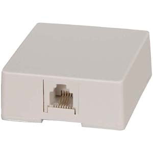 RJ11 Modular Single Port Surface Mount Jack White