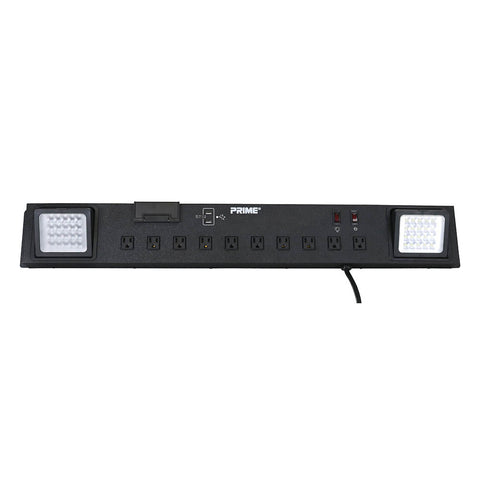 Workshop Power Center, 10-Outlet, LED Work Light, 2-Port USB Charger