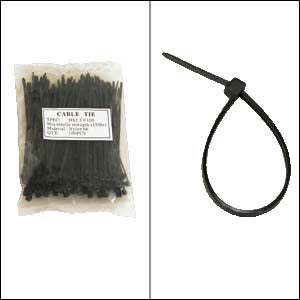 "4"" Nylon Cable Tie 18lbs Black 100pk"