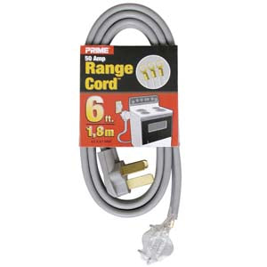 6Ft 6/2 & 8/1 50 Amp Gray 3-Wire Range Cord