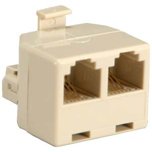 RJ11(6P4C) 1M/2F Modular T Adapter, Ivory Color