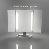 Flawless Vanity Tri-Fold LED Makeup Mirror, X2/X3 Magnifying 2 Strip 36 LED Lights