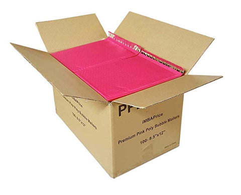 "iMBA-PB-#5 100- Pack ( 10 1/2 x 16"")Pink Color Self Seal Poly Bubble Mailers Padded Shipping Envelopes (Total 100 Bags)"