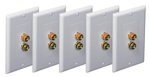 iMBAPrice (5 Pack) Premium 2 Connector Banana Wall Plate