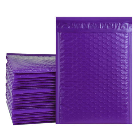 "iMBAPrice 100-Pack #6 (12.5"" x 19"") Premium Pure Purple Color Self Seal Poly Bubble Mailers Padded Shipping Envelopes (Total 100 Bags)"