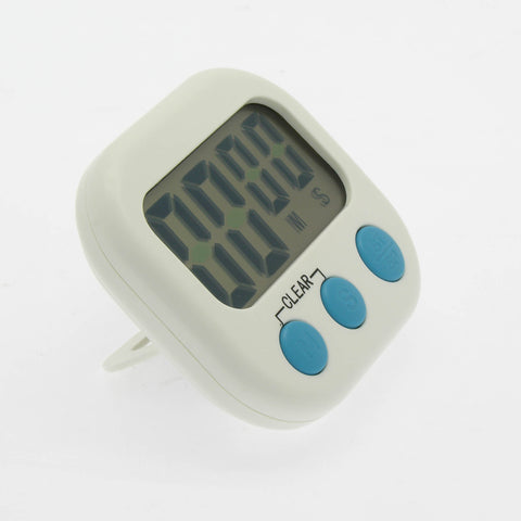 Digital Kitchen Timer, Big Digits, Loud Alarm, Magnetic Backing, Stand, White