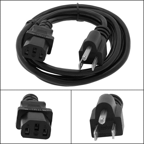 10Ft Computer Power Cord 5-15P to C13 Black SJT 18/3
