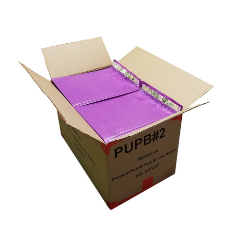 "iMBAPrice 100-Pack #2 (8.5"" x 12"") Poly Bubble Mailers Padded Envelopes  Purple, 100 Count"