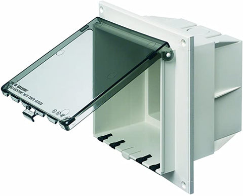 Arlington DBVR2C-1 Low Profile IN BOX Electrical Box with Weatherproof Cover for Flat Surfaces, 2-Gang, Vertical, Clear