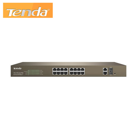 16-Port 10/100Mbps + 2 Gigabit Web Smart PoE Switch Tenda TEF1218P-16-250W