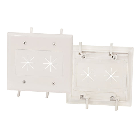 Cable Plate with Flexible Opening 2-Gang White