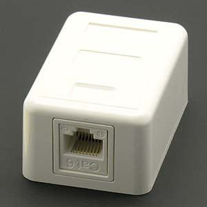 Cat.6 1-Port Surfacemount Box White w/Keystone Jack