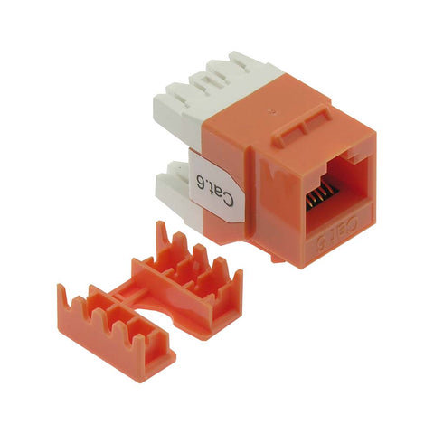 Cat.6 RJ45 110 Type 180° Keystone Jack Orange