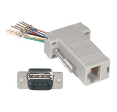 DB9-Male to RJ11/12 (6 wire) Modular Adapter Ivory