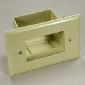 Easy Mount Recessed Low Voltage Cable Plate, Ivory