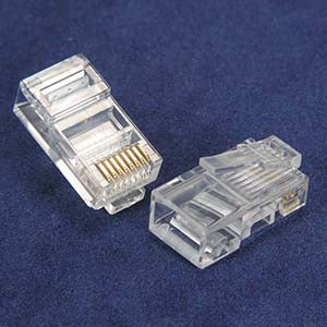 RJ45 Cat.5E Plug Solid 2 Prong 6Micron 100pk