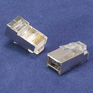 RJ45 Cat.5E Shielded Plug Stranded 50 Micron 20pk