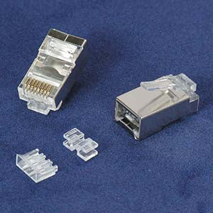 RJ45 Cat.6A Shielded Plug Stranded 50 Micron 3pc type 100pk