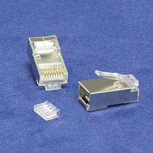 RJ45 Cat.6 Shielded Plug Solid 50 Micron 3-Prong w/Inserter 100pk