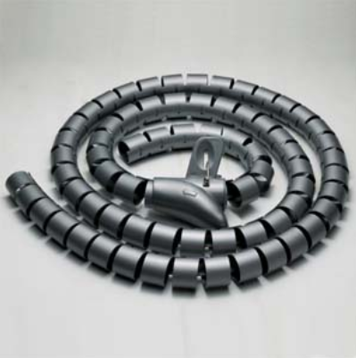"Spiral Cable Zip Wrap Black 25mm x 1.5m (1"" x 4.92Ft)"