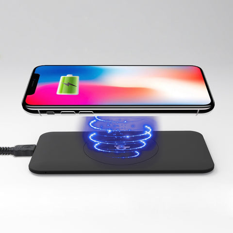 Wireless Qi Cellphone Charger Black Ruber Oil Coated