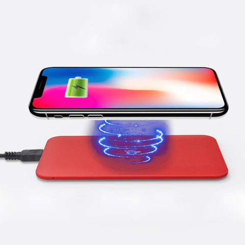 Wireless Qi Cellphone Charger Red Rubber Oil Coated