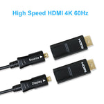 125Ft 4K x 2K 60Hz 18GHz Fiber Optic/Hybrid HDMI Cable with Micro HDMI Adapter, LSZH Jack