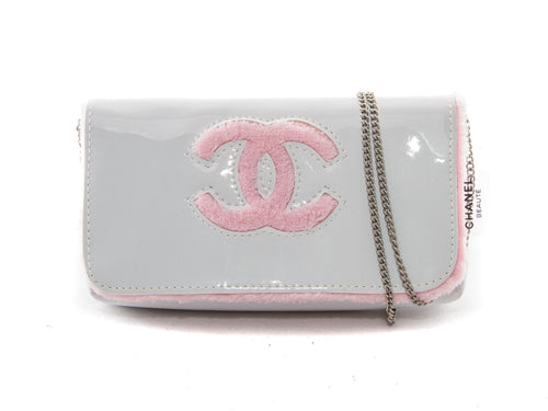 White & Pink Patent Chain Clutch Bag