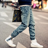 Mountainskin New Korean Style Men's Jeans Distrressed Jogger Jeans Slim Fit Denim Pants Skinny Stretch Elastic Jeans ,JA265