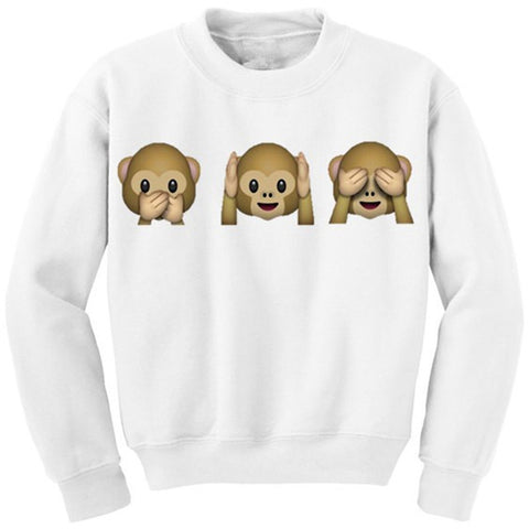 EAST KNITTING  Brand Men's  Autumn Long Sleeve Sweatshirts EMOJI Print Tops