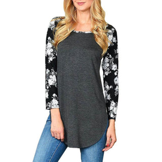 Women Tops Flower Print Long Sleeve Loose Blouse Casual Shirt Summer Autumn Tops Black Shirt Women blusas femininas