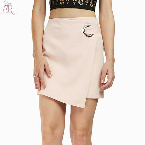 Pink Eyelet Asymmetric Hem Wrap Pencil Mini Skirt Women High Waist Back with Zipper Formal Bodycon Bottom Wear