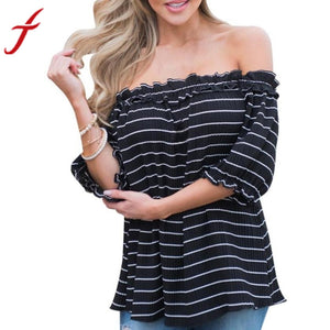 2017 Summer Striped Blouse Women Sexy Off Shoulder Short Sleeve Casual Black Tops Corduroy Shirt women tops blusas