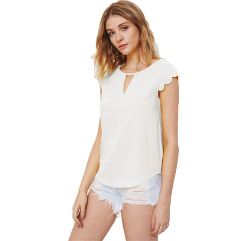 SHEIN White V Notch Front Scallop Trim Curved Hem Top Regular Fitted Tops for Women Cap Sleeve Elegant Summer Blouse