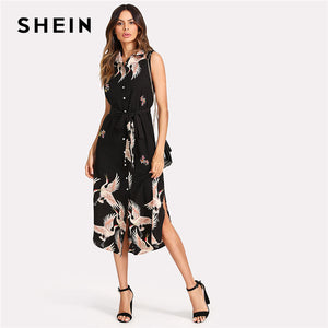 SHEIN Floral Crane Print Button Up Curved Hem Dress Women Sleeveless Belted Chiffon Shirt Dress 2018 Summer Beach Boho Dress