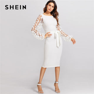White Flower Applique Mesh Sleeve Dress
