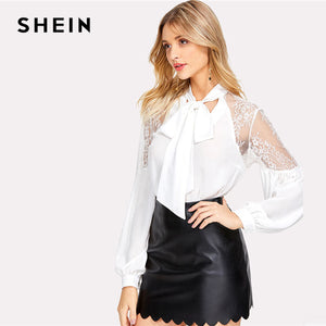 SHEIN Tie Neck Bow Lace Shoulder Lantern Sleeve Blouse White Stand Collar Long Sleeve Women Elegant Top 2018 Party Blouse