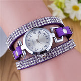 "Doreen Box Velvet Quartz Wrist Watches Multicolor Clear Women Jewelry Rhinestone Battery Included 21cm(8 2/8"") long, 1 Piece"