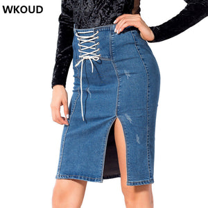 WKOUD 2018 Women's Bandage Skirts Fashion High Waist Solid Demin Skirt Sexy Knee-Length Bottom Casual Wear H1046
