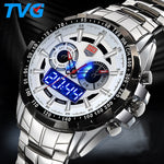 Top brand Military Digital Sport Watches Men stainless steel Quartz LED 3ATM Waterproof man Wristwatch Army Relogio Hombre