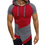 Summer Slim Fit Men Muscle Tshirts Tee Shirt Short Sleeve Patchwork Slanted Zipper Irregular Casual Drawstring Hoody T Shirt