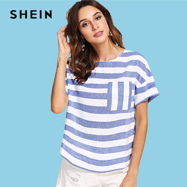 a48a88c031 SHEIN Multicolor Weekend Casual Pocket Front Striped Round Neck Short –  fashiontrenzz